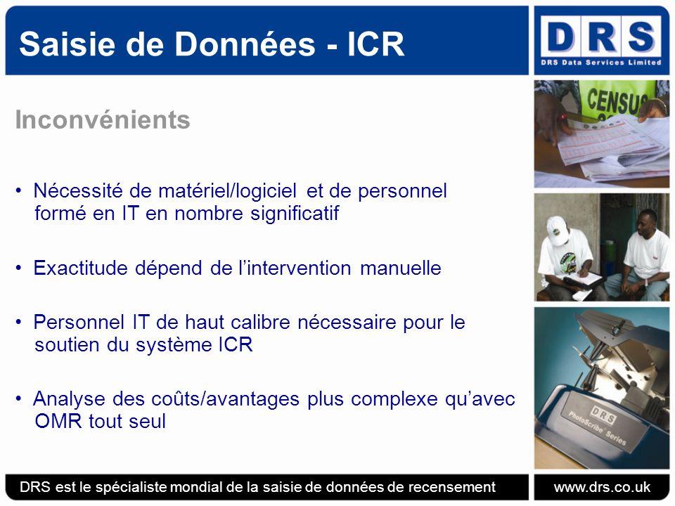 Saisie de Données - ICR Inconvénients