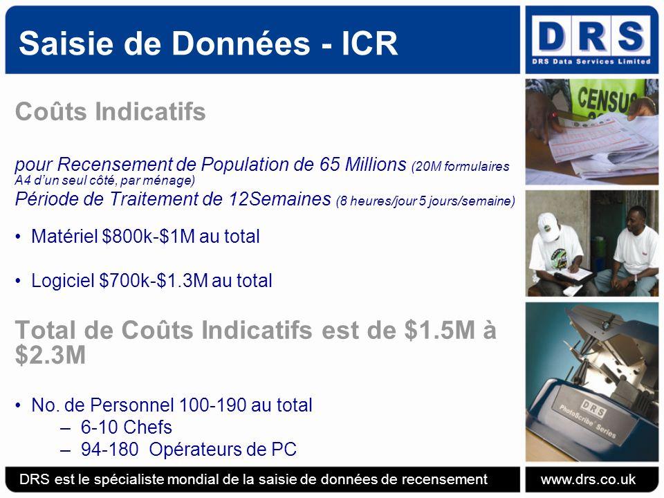 Saisie de Données - ICR Coûts Indicatifs