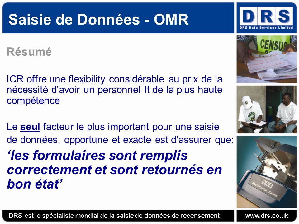 Saisie de Données - OMR Résumé. ICR offre une flexibility considérable au prix de la nécessité d'avoir un personnel It de la plus haute compétence.