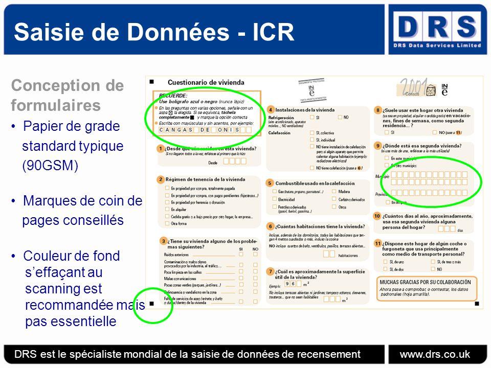 Saisie de Données - ICR Conception de formulaires Papier de grade