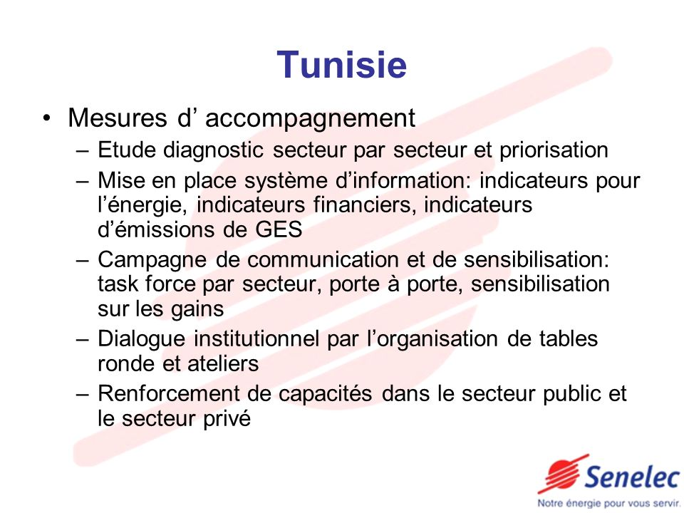Tunisie Mesures d' accompagnement