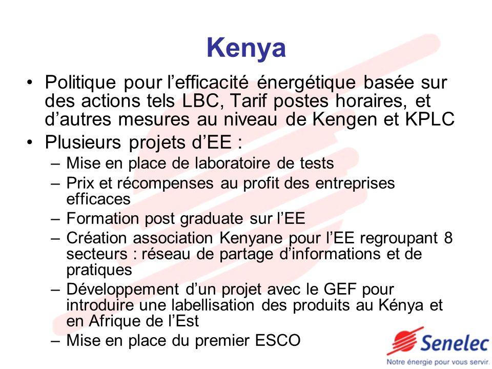 Kenya Politique pour l'efficacité énergétique basée sur des actions tels LBC, Tarif postes horaires, et d'autres mesures au niveau de Kengen et KPLC.
