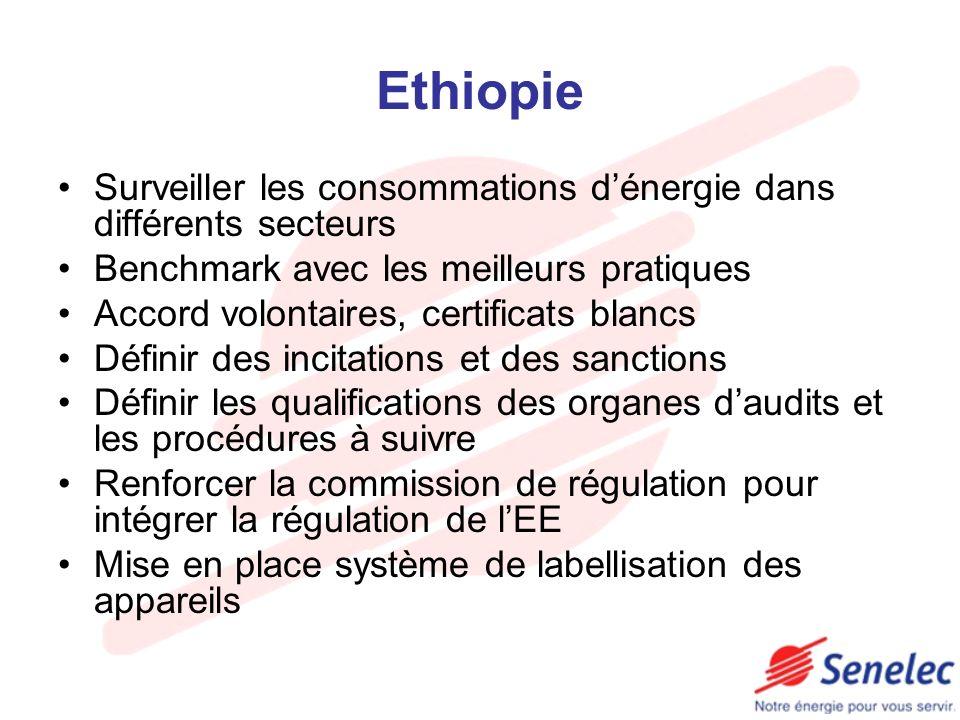 Ethiopie Surveiller les consommations d'énergie dans différents secteurs. Benchmark avec les meilleurs pratiques.
