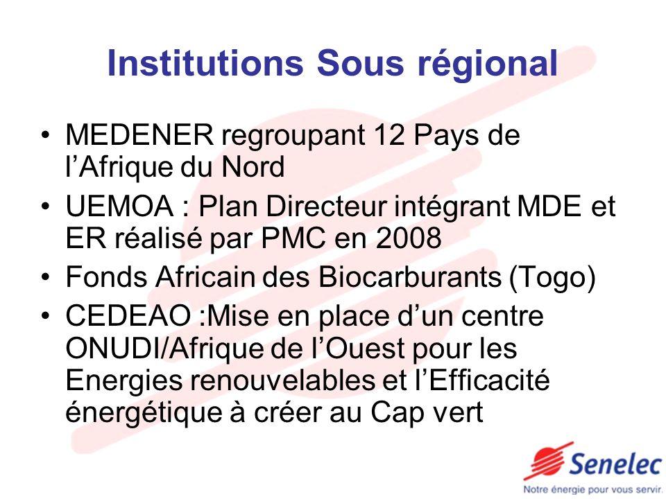Institutions Sous régional