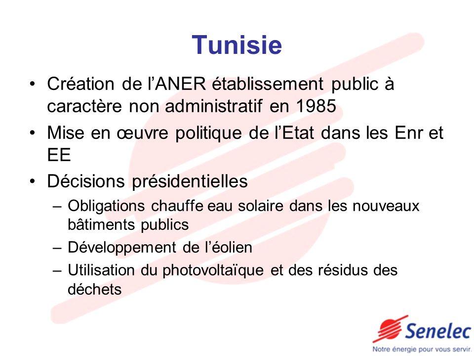 Tunisie Création de l'ANER établissement public à caractère non administratif en 1985. Mise en œuvre politique de l'Etat dans les Enr et EE.