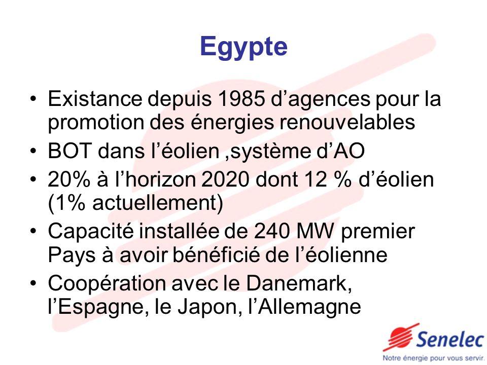 Egypte Existance depuis 1985 d'agences pour la promotion des énergies renouvelables. BOT dans l'éolien ,système d'AO.