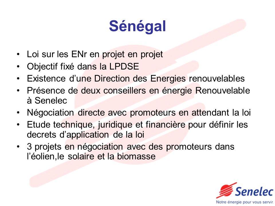 Sénégal Loi sur les ENr en projet en projet