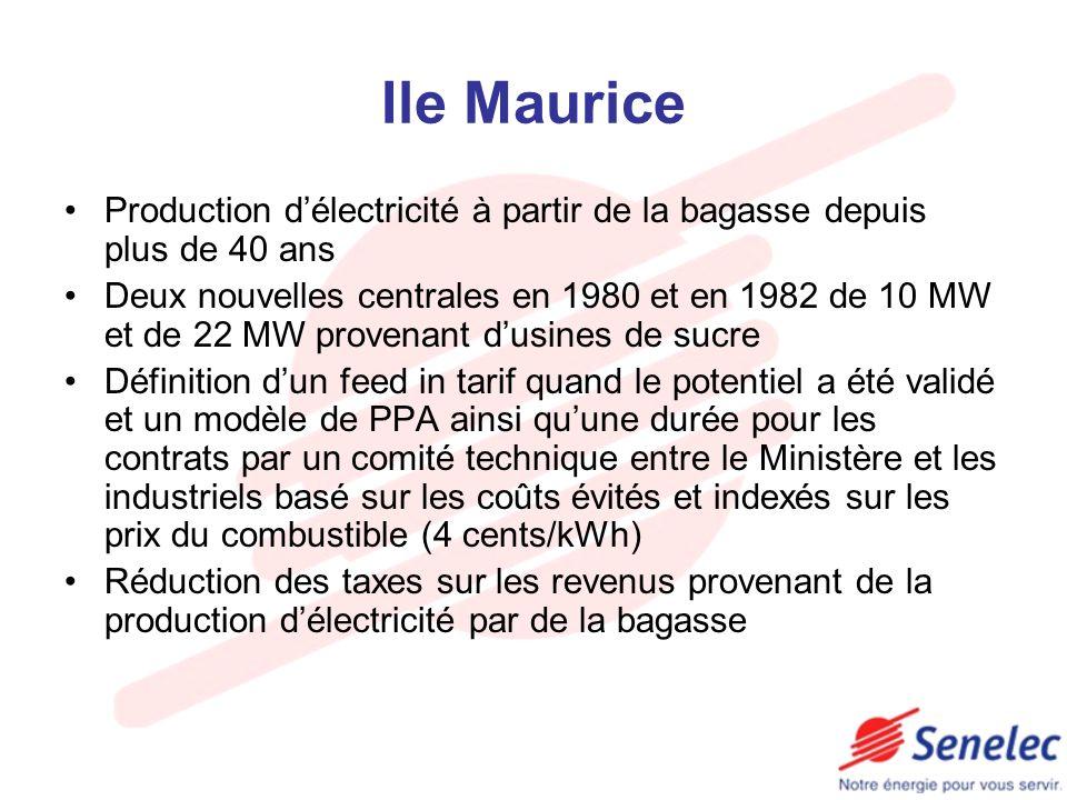 Ile Maurice Production d'électricité à partir de la bagasse depuis plus de 40 ans.
