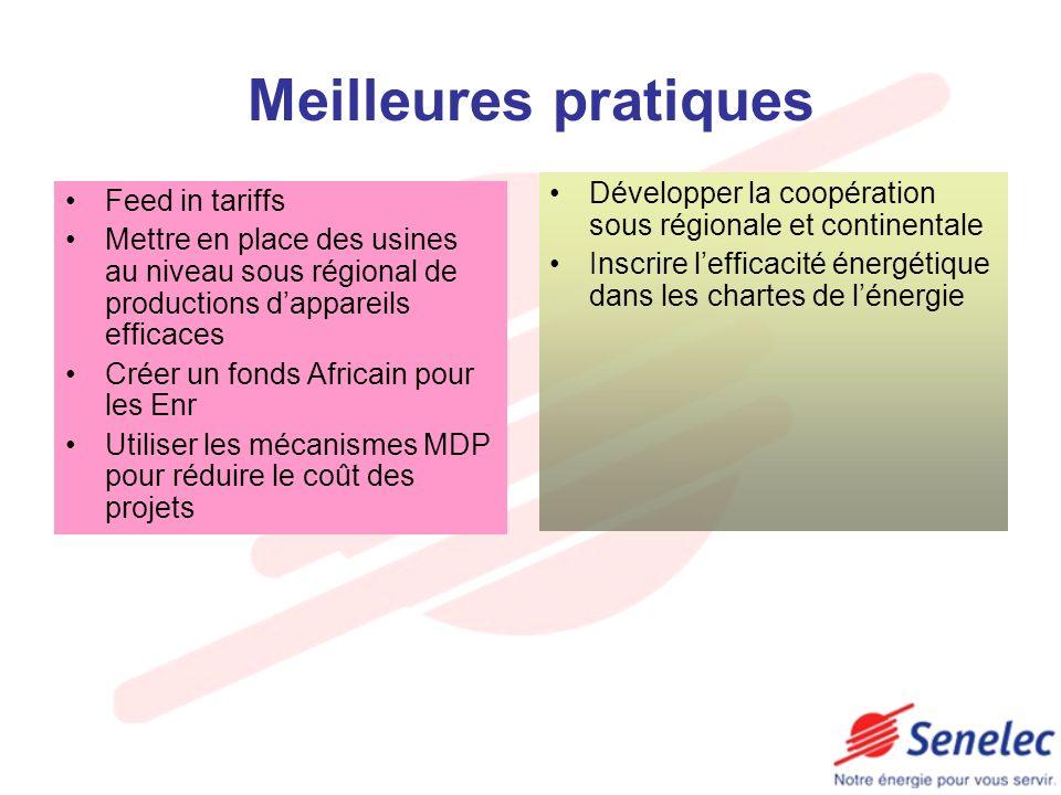 Meilleures pratiques Développer la coopération sous régionale et continentale. Inscrire l'efficacité énergétique dans les chartes de l'énergie.