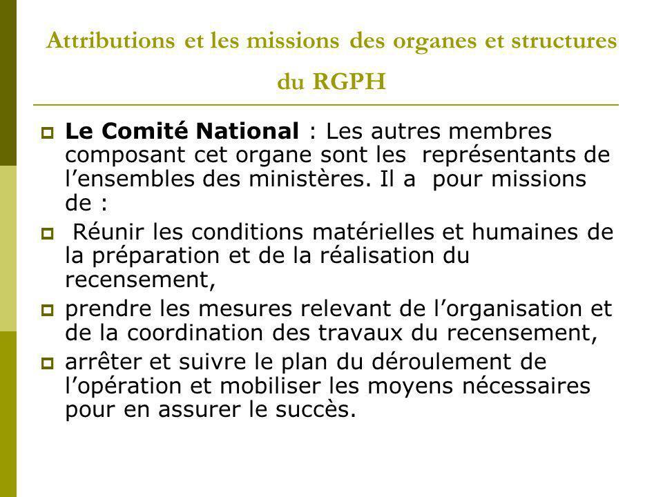 Attributions et les missions des organes et structures du RGPH