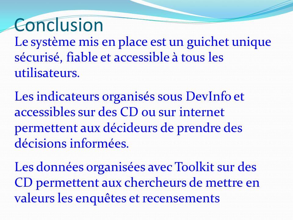 Conclusion Le système mis en place est un guichet unique sécurisé, fiable et accessible à tous les utilisateurs.