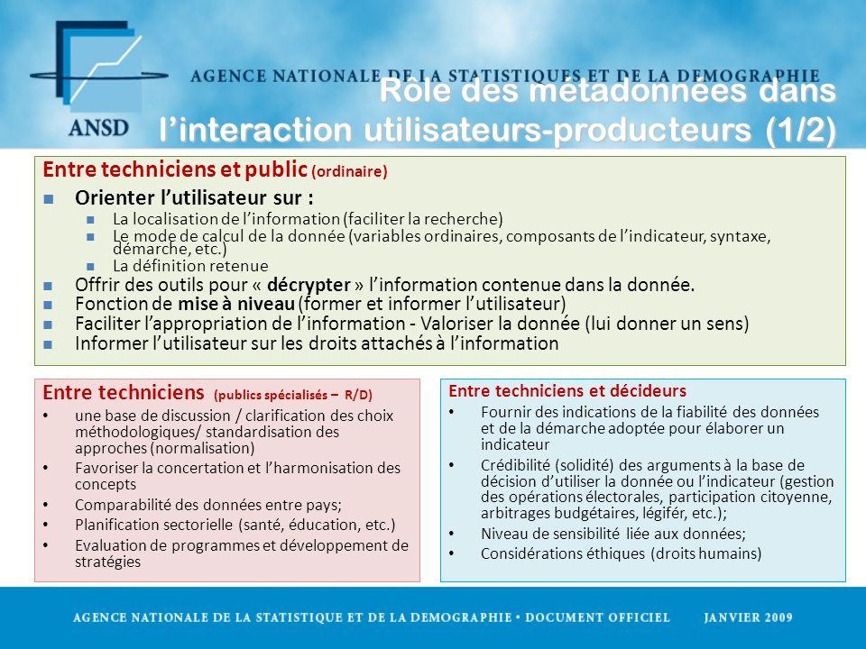 Rôle des métadonnées dans l'interaction utilisateurs-producteurs (1/2)