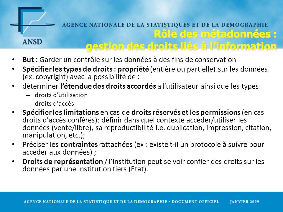 Rôle des métadonnées : gestion des droits liés à l'information