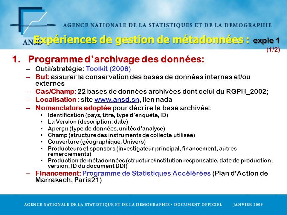 Expériences de gestion de métadonnées : exple 1 (1/2)