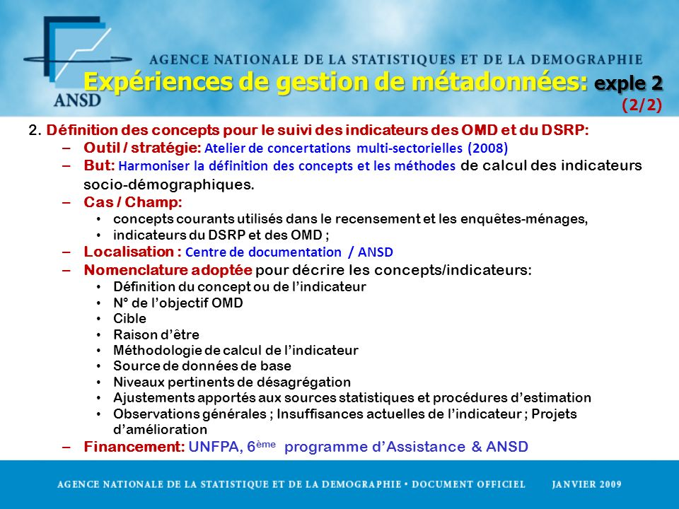 Expériences de gestion de métadonnées: exple 2 (2/2)