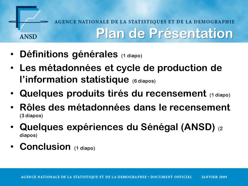 Plan de Présentation Définitions générales (1 diapo)