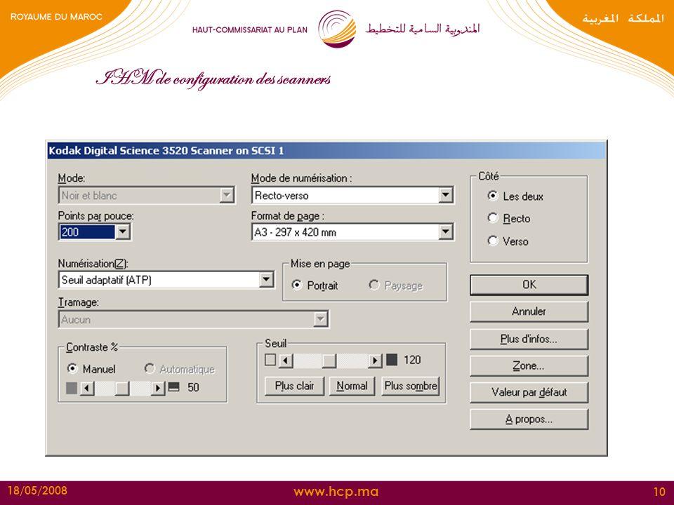 IHM de configuration des scanners