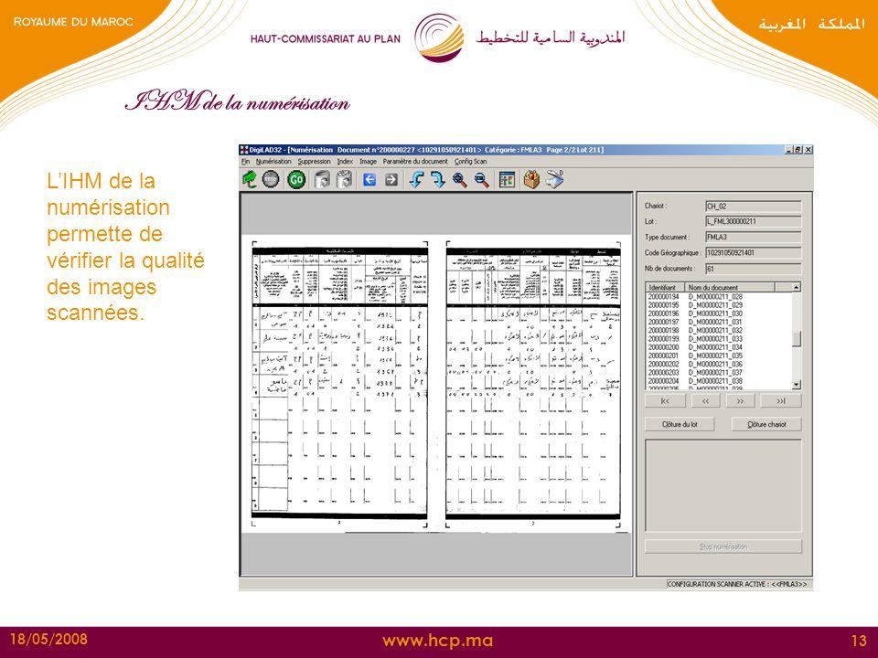 IHM de la numérisation L'IHM de la numérisation permette de vérifier la qualité des images scannées.