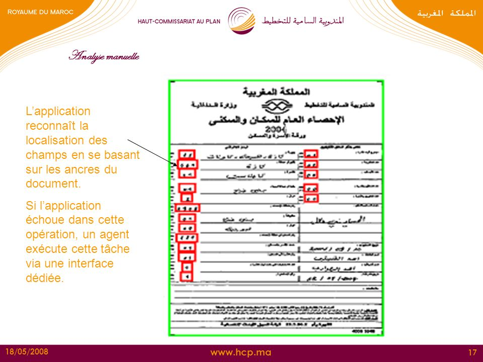 Analyse manuelle L'application reconnaît la localisation des champs en se basant sur les ancres du document.