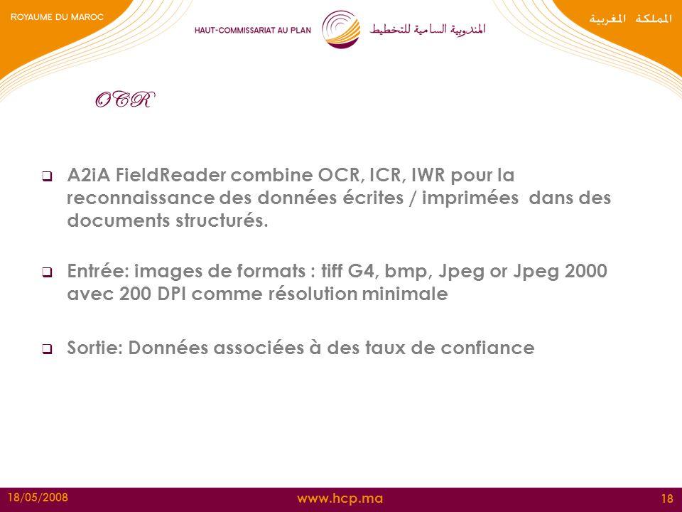OCR A2iA FieldReader combine OCR, ICR, IWR pour la reconnaissance des données écrites / imprimées dans des documents structurés.