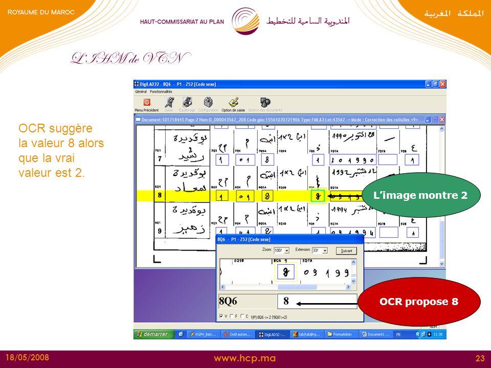 L'IHM de VCN OCR suggère la valeur 8 alors que la vrai valeur est 2.