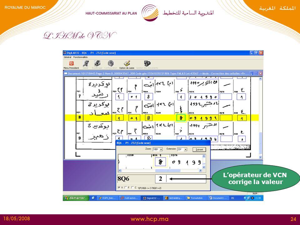 L'IHM de VCN L'opérateur de VCN corrige la valeur 18/05/2008