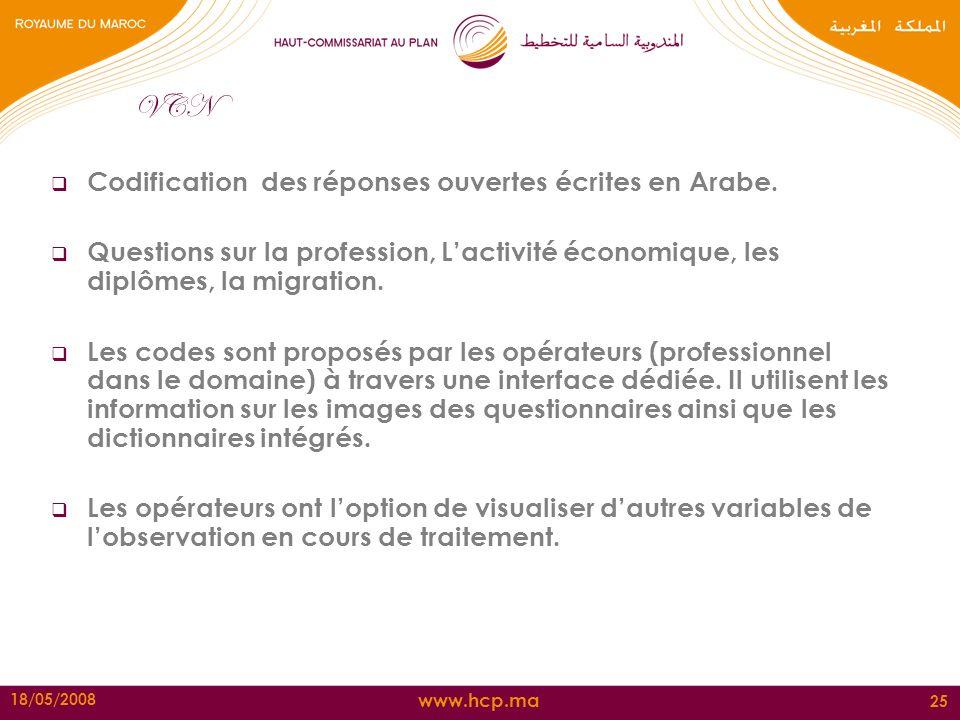 VCN Codification des réponses ouvertes écrites en Arabe.