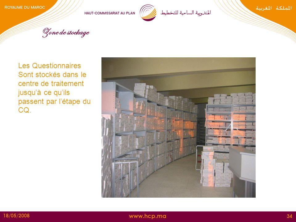 Zone de stockage Les Questionnaires Sont stockés dans le centre de traitement jusqu'à ce qu'ils passent par l'étape du CQ.