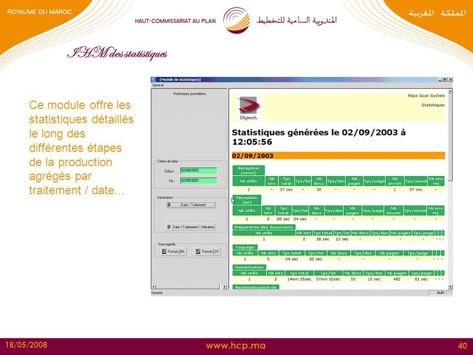 IHM des statistiques Ce module offre les statistiques détaillés le long des différentes étapes de la production agrégés par traitement / date...