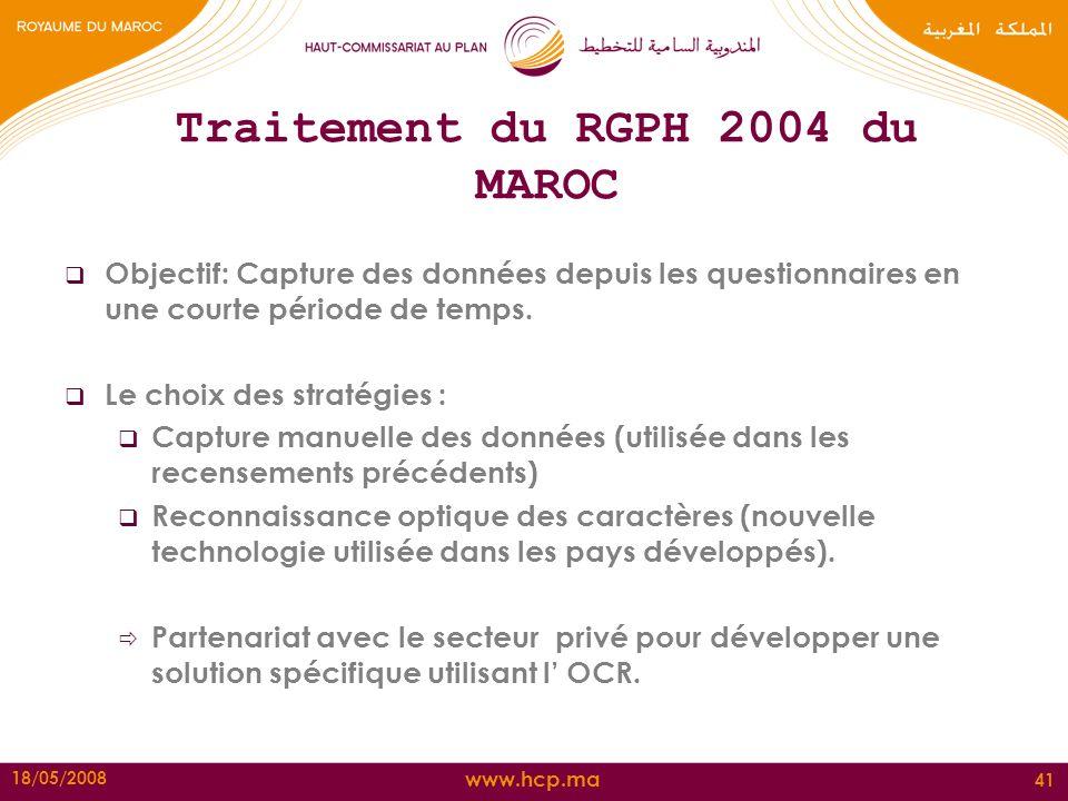 Traitement du RGPH 2004 du MAROC