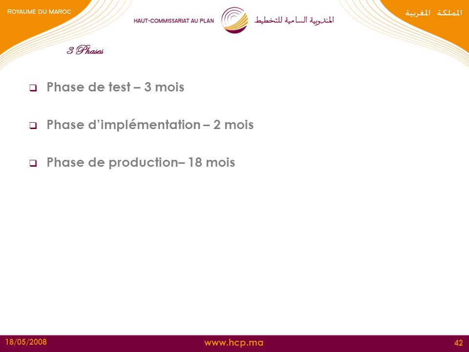 Phase d'implémentation – 2 mois Phase de production– 18 mois