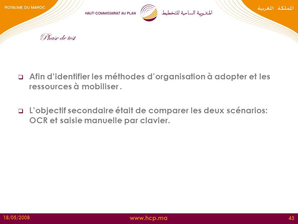Phase de test Afin d'identifier les méthodes d'organisation à adopter et les ressources à mobiliser .