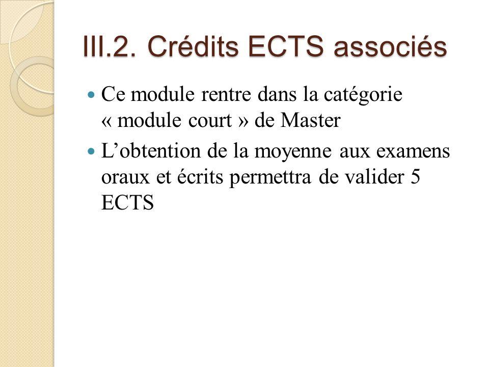 III.2. Crédits ECTS associés