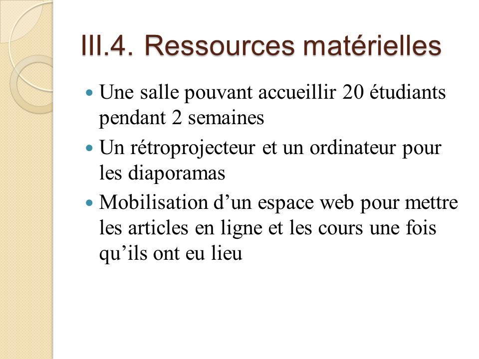 III.4. Ressources matérielles