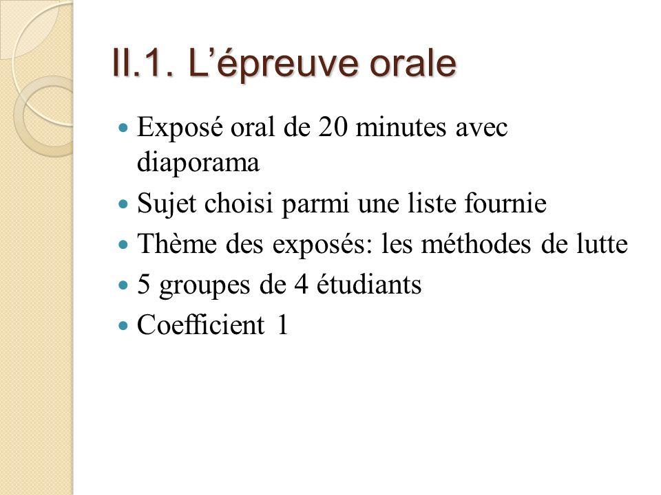 II.1. L'épreuve orale Exposé oral de 20 minutes avec diaporama
