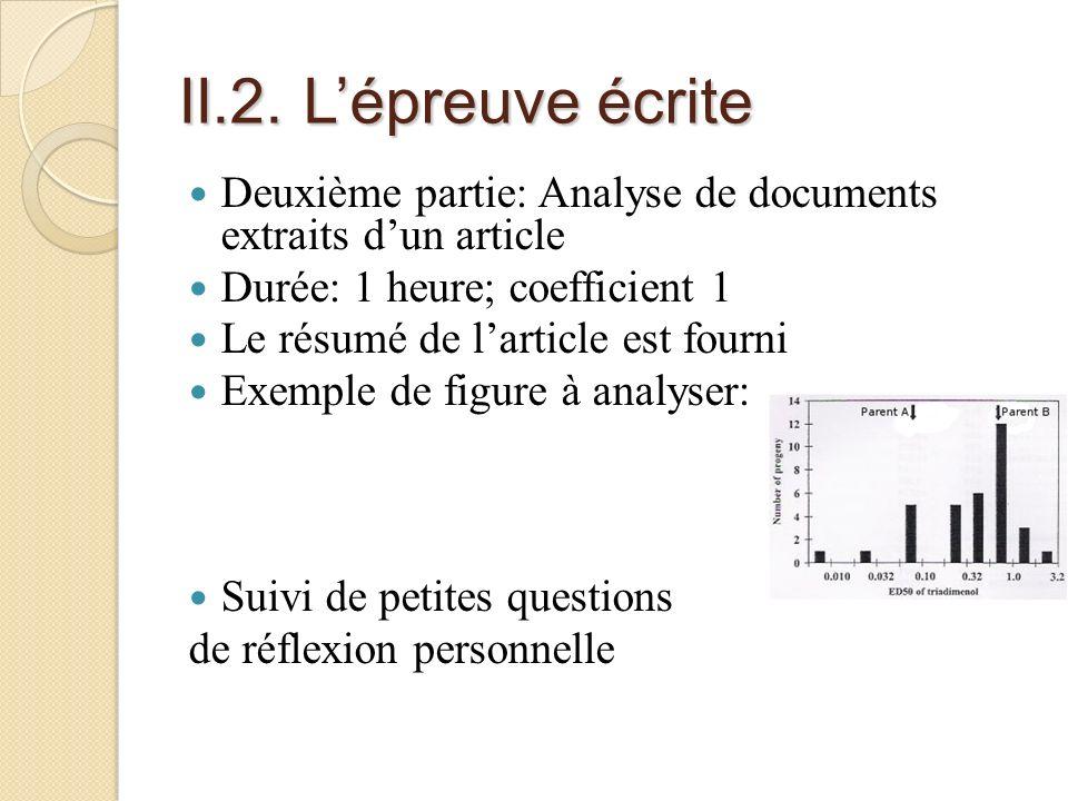 II.2. L'épreuve écrite Deuxième partie: Analyse de documents extraits d'un article. Durée: 1 heure; coefficient 1.