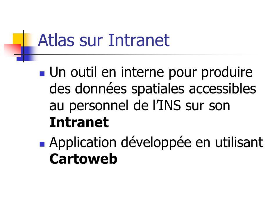 Atlas sur Intranet Un outil en interne pour produire des données spatiales accessibles au personnel de l'INS sur son Intranet.