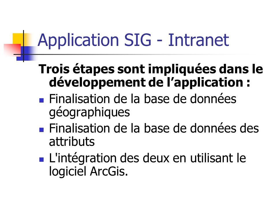 Application SIG - Intranet