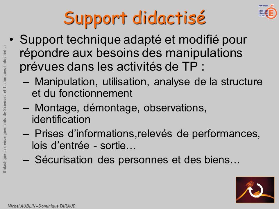 Support didactiséSupport technique adapté et modifié pour répondre aux besoins des manipulations prévues dans les activités de TP :