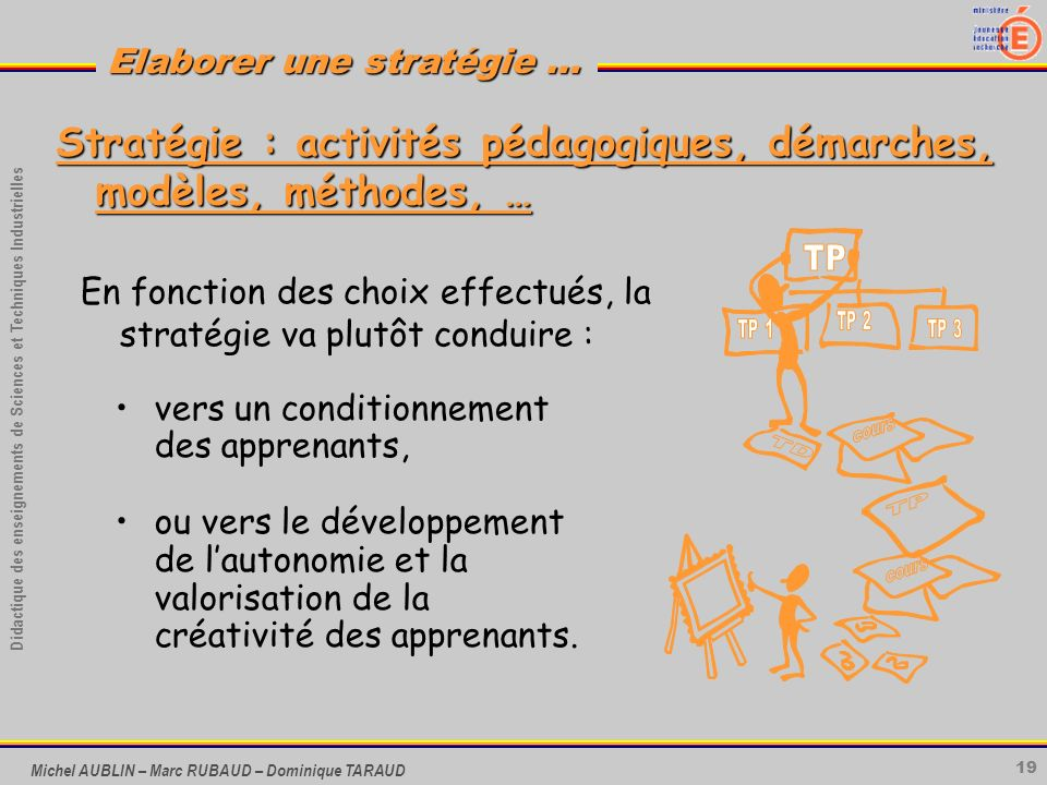 Stratégie : activités pédagogiques, démarches, modèles, méthodes, …