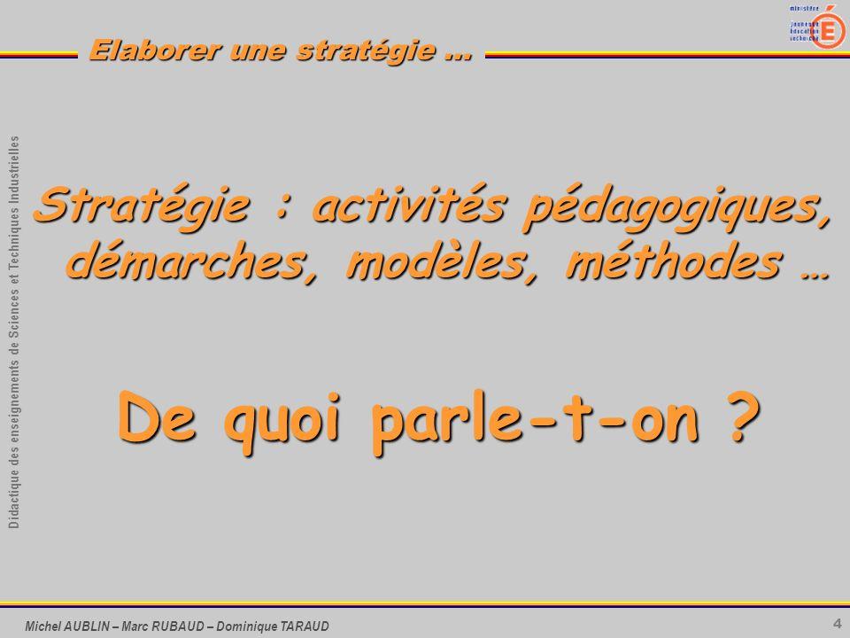 Stratégie : activités pédagogiques, démarches, modèles, méthodes …