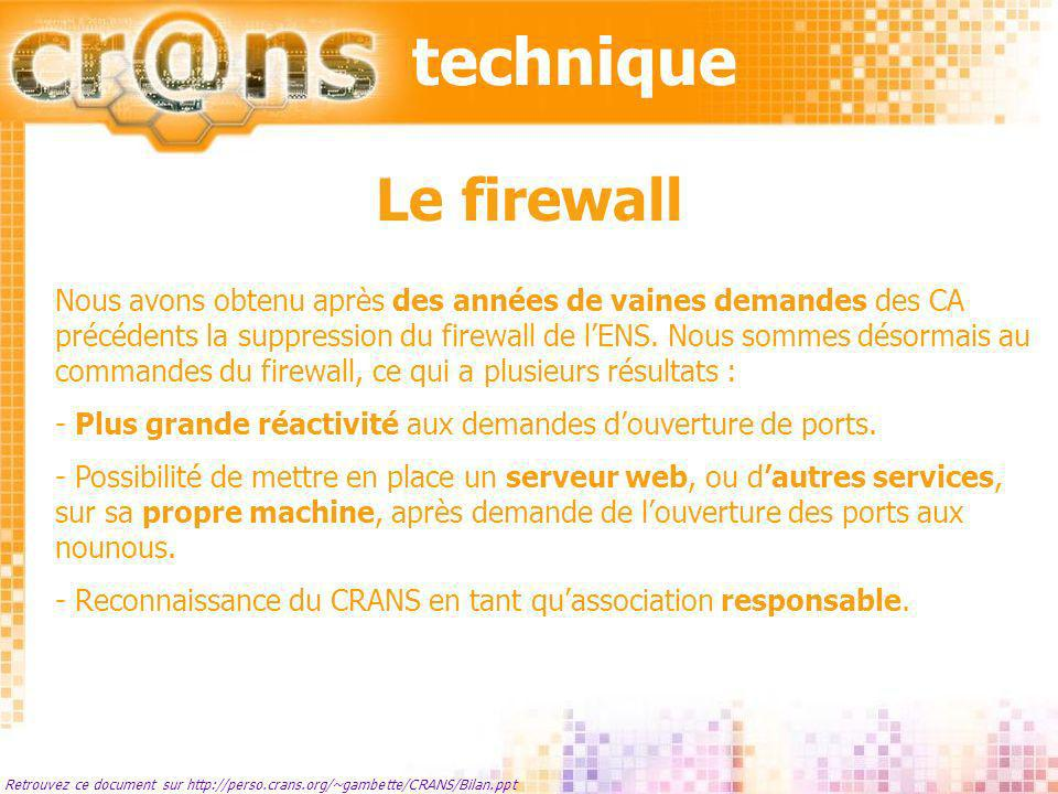 techniqueLe firewall.
