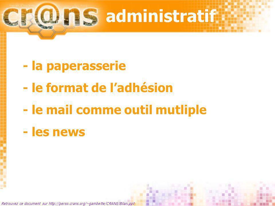 administratif - la paperasserie - le format de l'adhésion