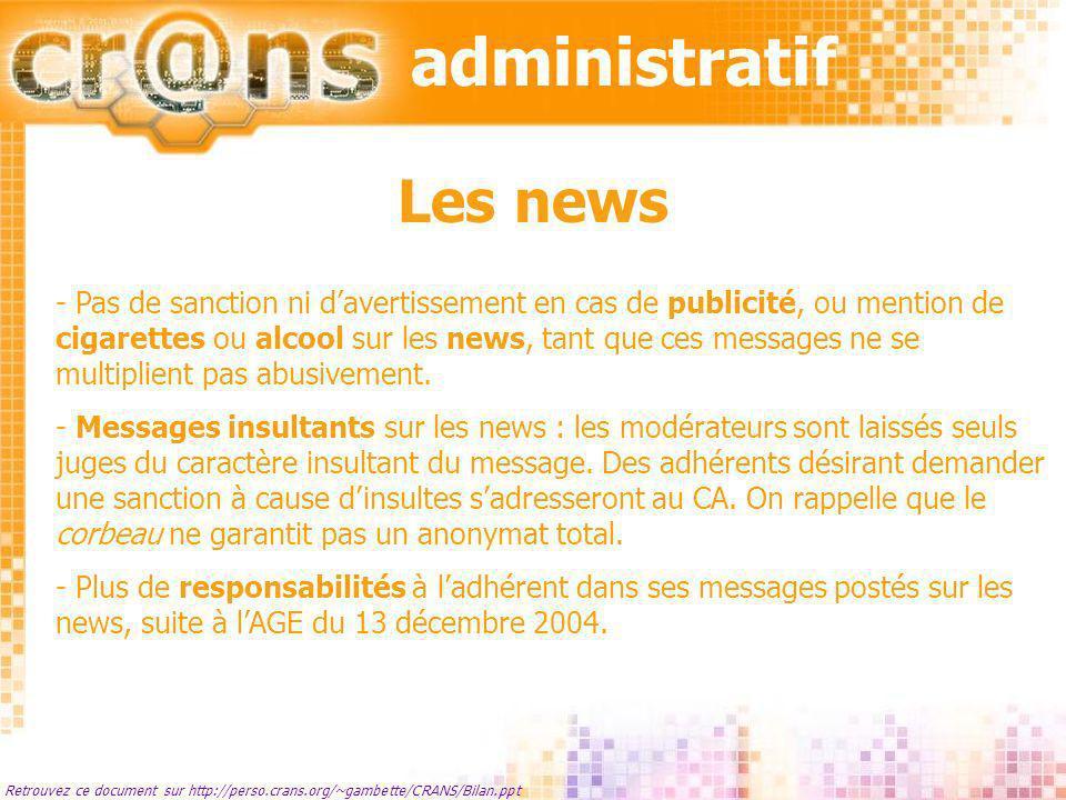 administratif Les news