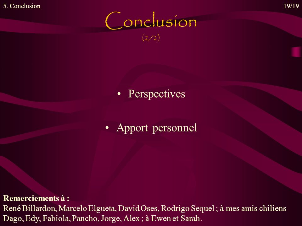 Conclusion (2/2) Perspectives Apport personnel