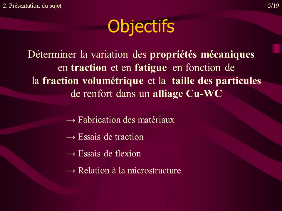2. Présentation du sujet 5/19. Objectifs.