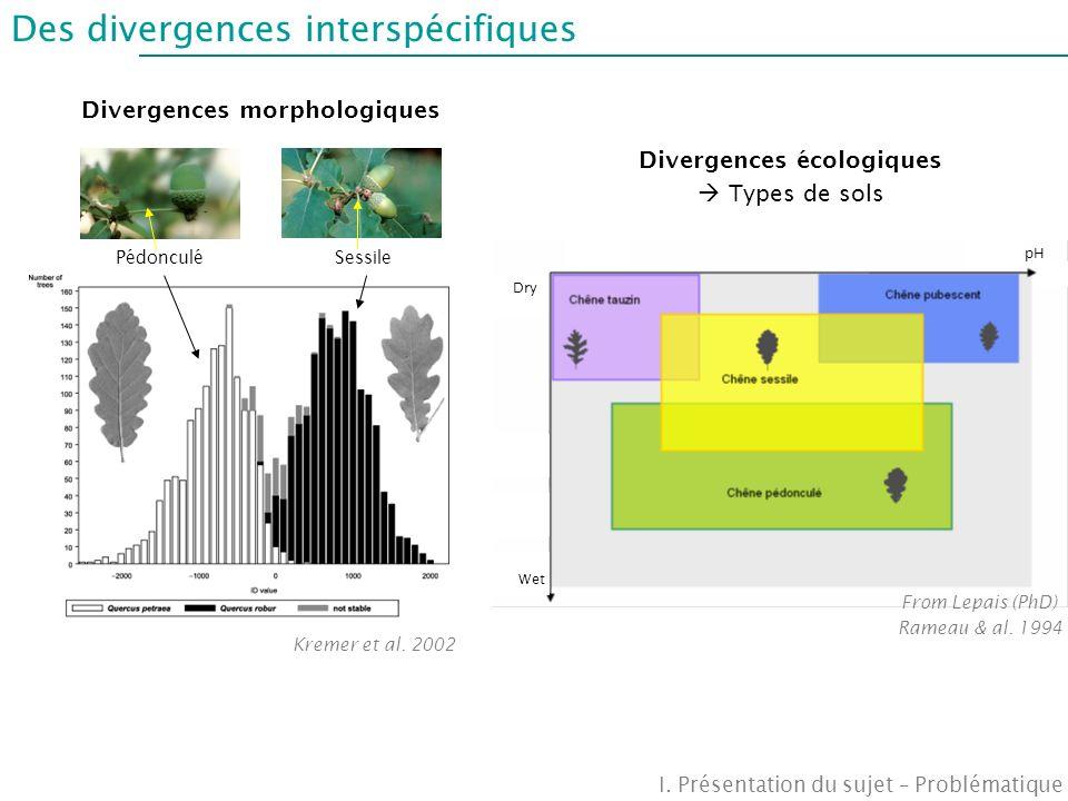 Divergences morphologiques Divergences écologiques