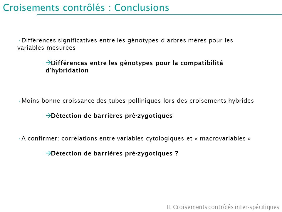 Croisements contrôlés : Conclusions