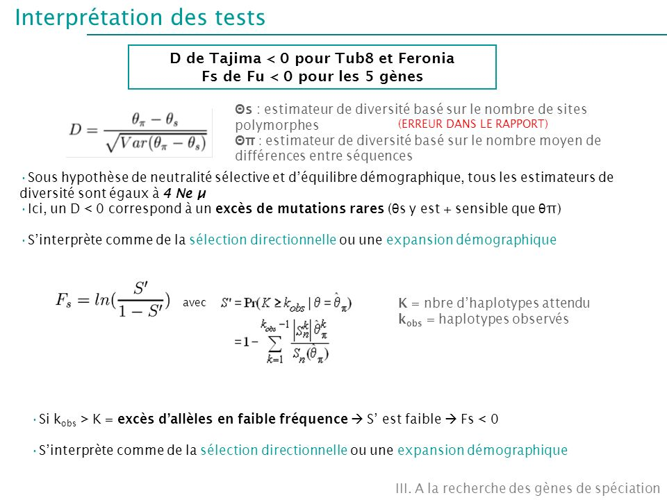 Interprétation des tests