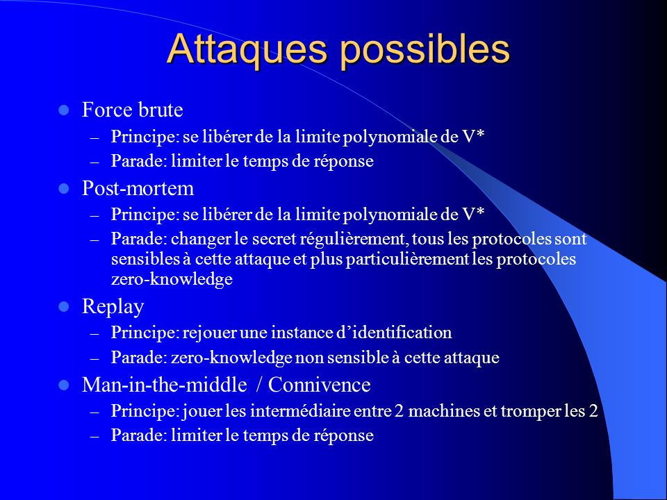 Attaques possibles Force brute Post-mortem Replay